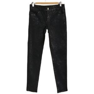LIU JO Italian Grey & Gold Sparkles Stretchy Cotton Shiny Skinny Jeans Size 30